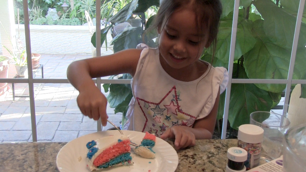 My little sis Jessie, our cake tester!